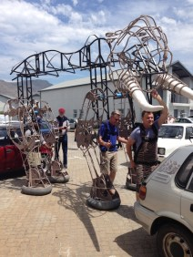Nana walks for the first time at the Handspring Factory in Cape Town