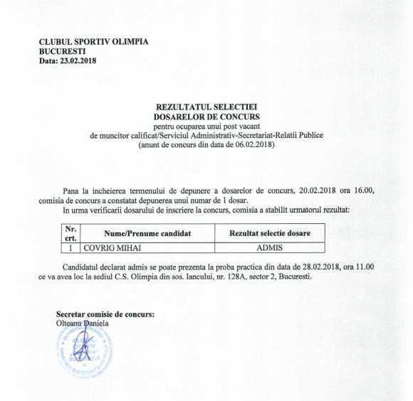 Rezultat selectie 06 02 2018 - Rezultat selectie ocupare post de muncitor calificat