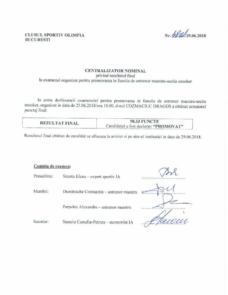 Centralizator examen 2018 06 25 - Centralizator nominal privind examenul de promovare antrenor maestru – sectia snooker
