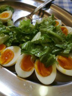 農家の有精卵のゆで卵と無農薬サラダ