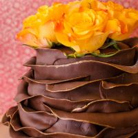Double Chocolate Ruffle Cake With Real Roses