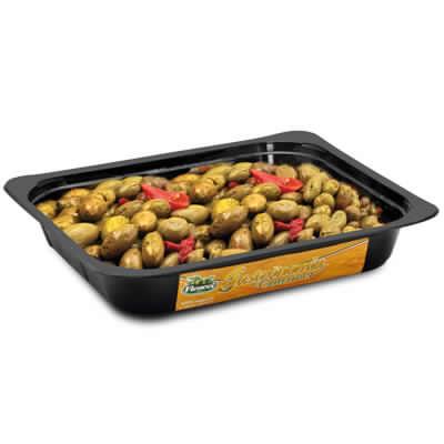 Olive verdi Schiacciate Nocellara Etnea condite vaschetta 1.5kg
