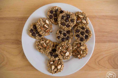 Cookies flocons d'avoine choco et amandes (vegan, sans gluten)
