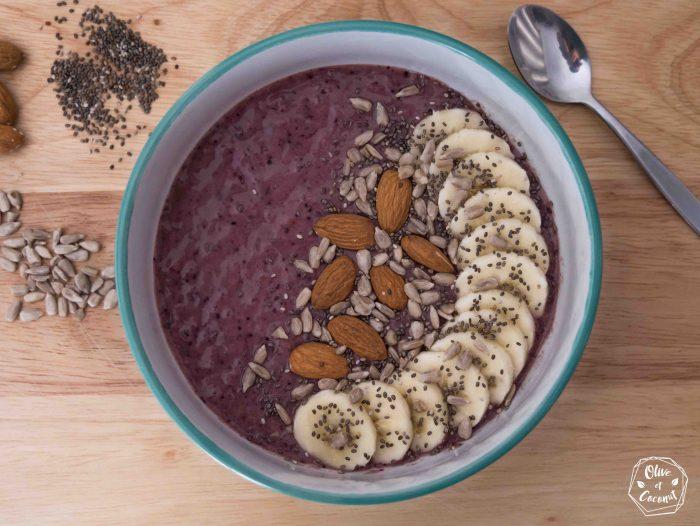 Smoothie bowl vegan sans gluten