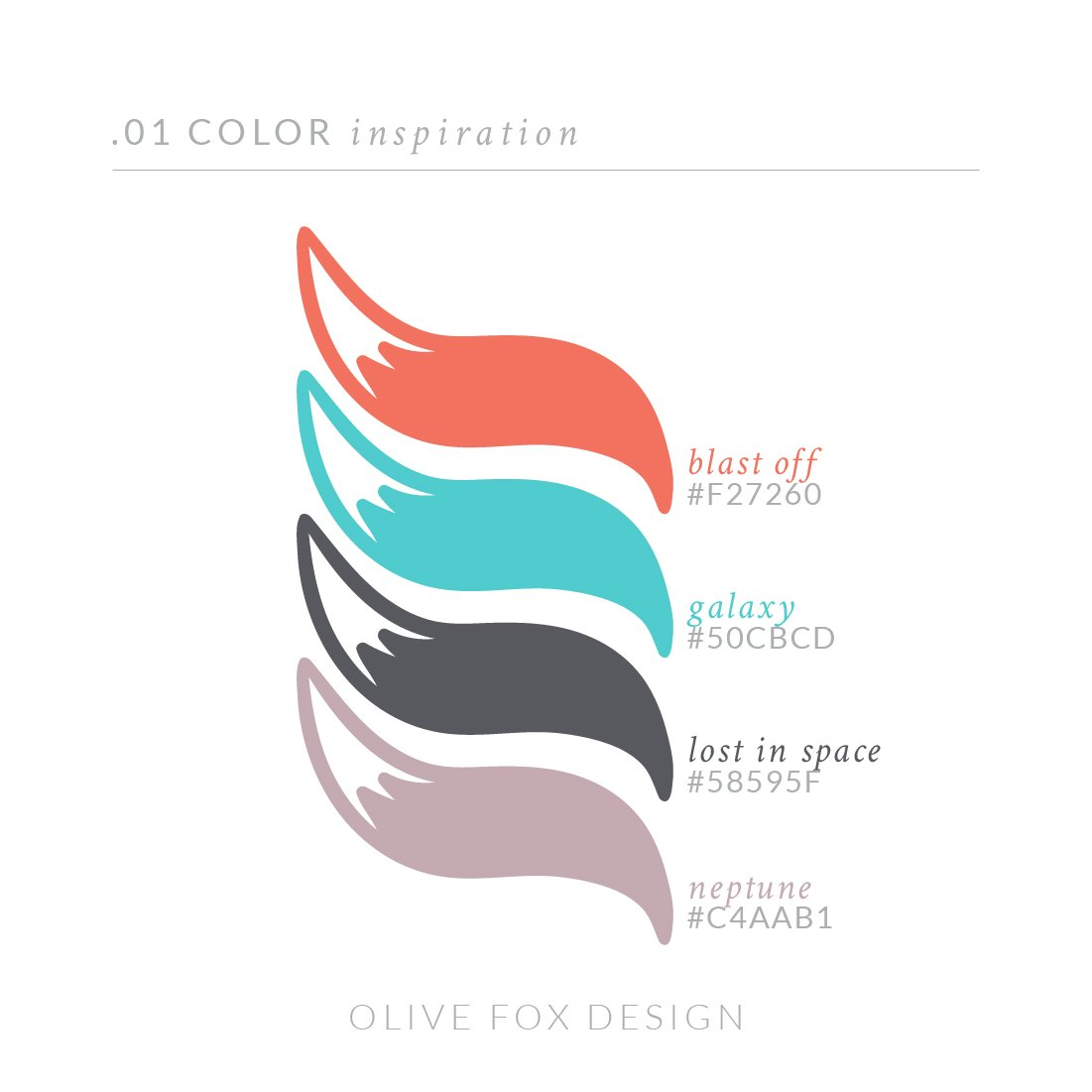 Color palette using orange, teal, navy, and dusty purple. Inspired by outer space created by Olive Fox Design | www.olivefoxdesign.com