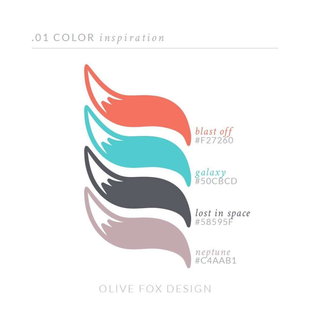 Color palette using orange, teal, navy, and dusty purple. Inspired by outer space created by Olive Fox Design   www.olivefoxdesign.com