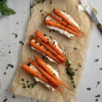 Caramelized Honey Thyme Carrots on Ricotta Toast