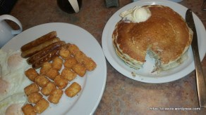 Eggs overeasy, sausage, tater tots, pancakes