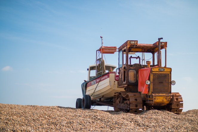 Another boat on a trailer, this one ready to be pushing into the sea by the tractor.