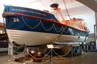 R.N.L.B. The Manchester Unity of Oddfellows, the most recent lifeboat in the museum. (RNLB stands for Royal National Lifeboat). Photos of the historic lifeboats and fishing boats collection in Sheringham museum. (http://www.sheringhammuseum.co.uk)