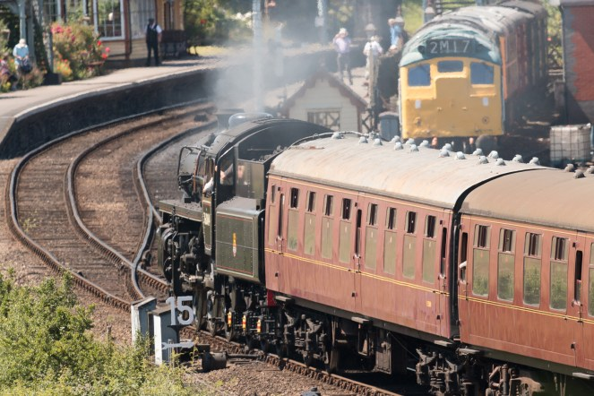 The same train from the previous photo, arriving at Weybourne station. (Photos from National Trust Sheringham Park.)