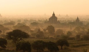 A panorama overlooking the temples of Old Bagan, Burma.
