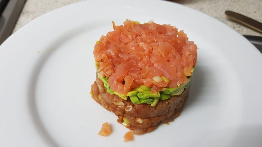 Timbale of Spicy Tuna, Avocado and Smoked Salmon