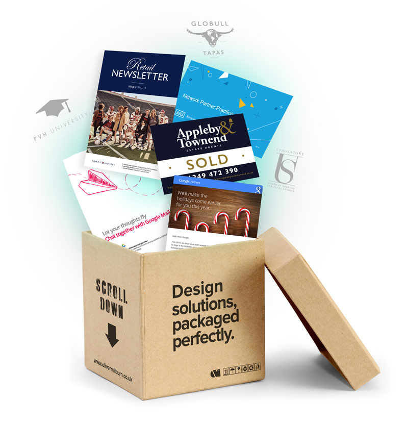 Design solutions exploding from a package.