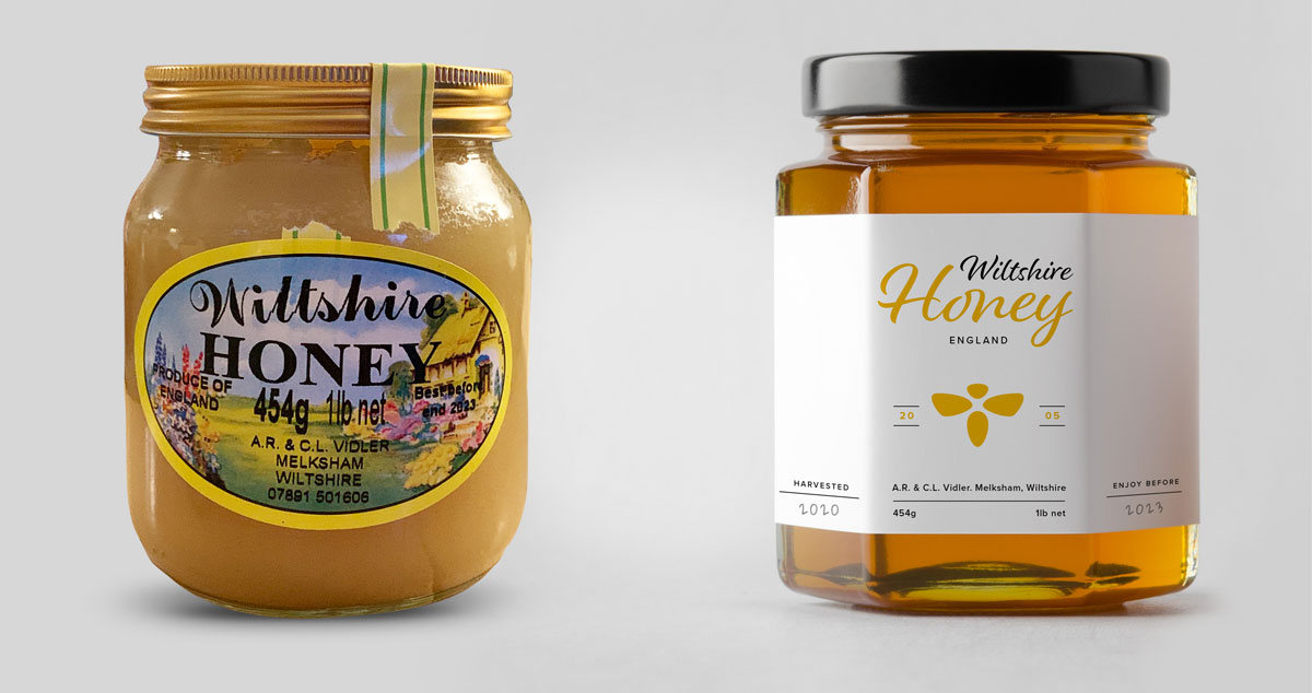 Before and after view of Wiltshire honey jar design and re-brand by Oliver Milburn