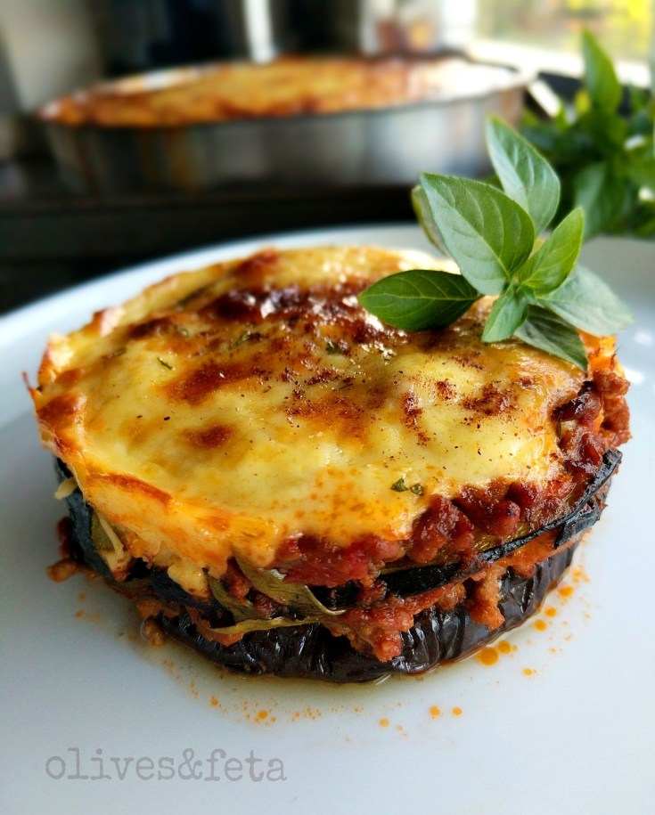 Moussaka with Beef, Eggplant and Zucchini layers