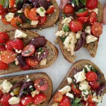 tomato, olive and feta brushetta