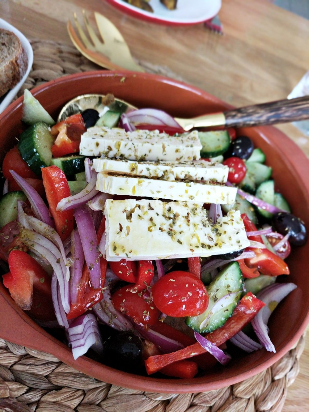 Authentic flavours are captured in this recipe for Greek salad