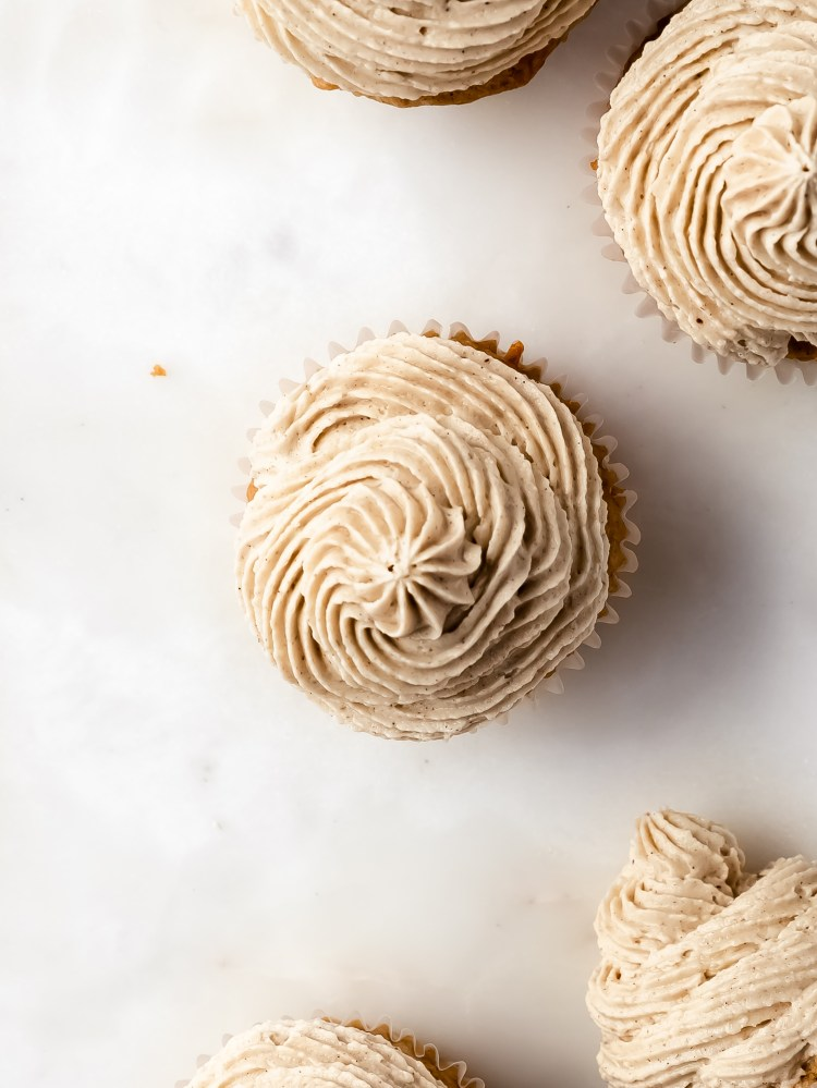 chai spice apple cupcakes with tahini buttercream