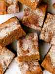 gingerbread blondie bars piled on top of each other