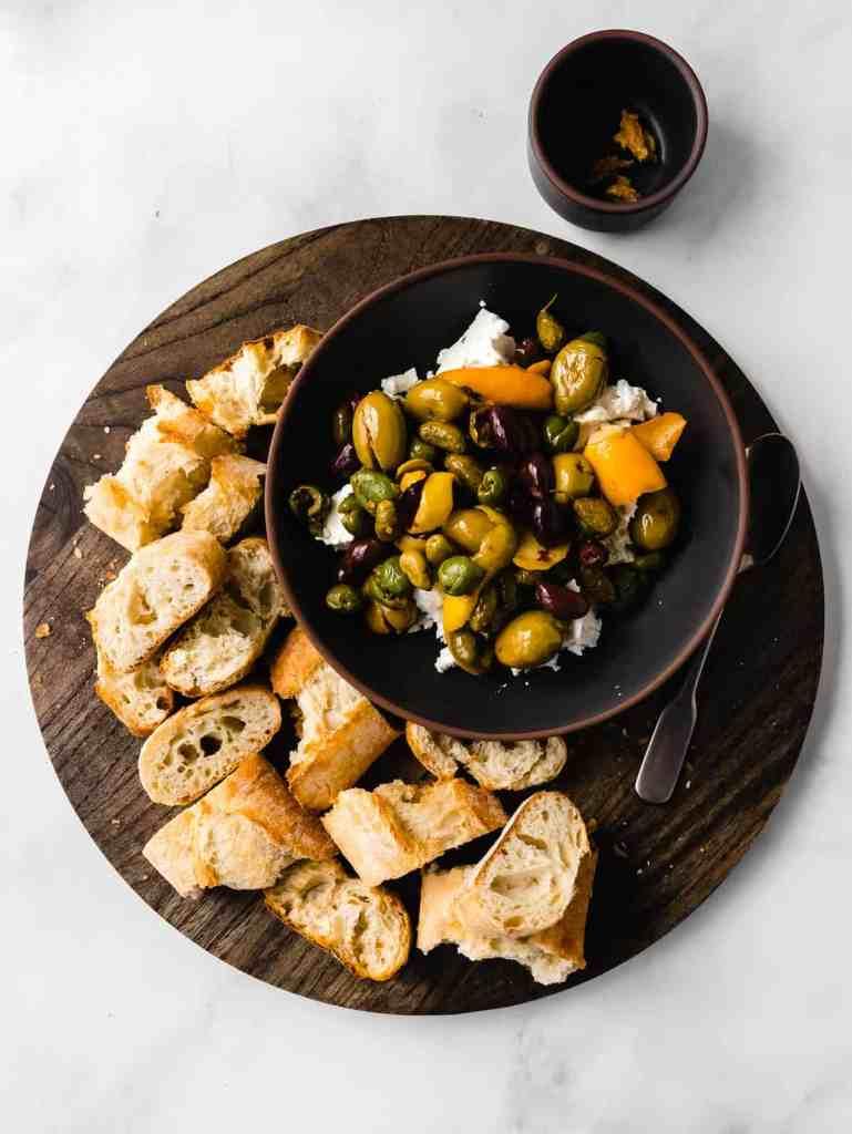 citrus marinated olives with feta