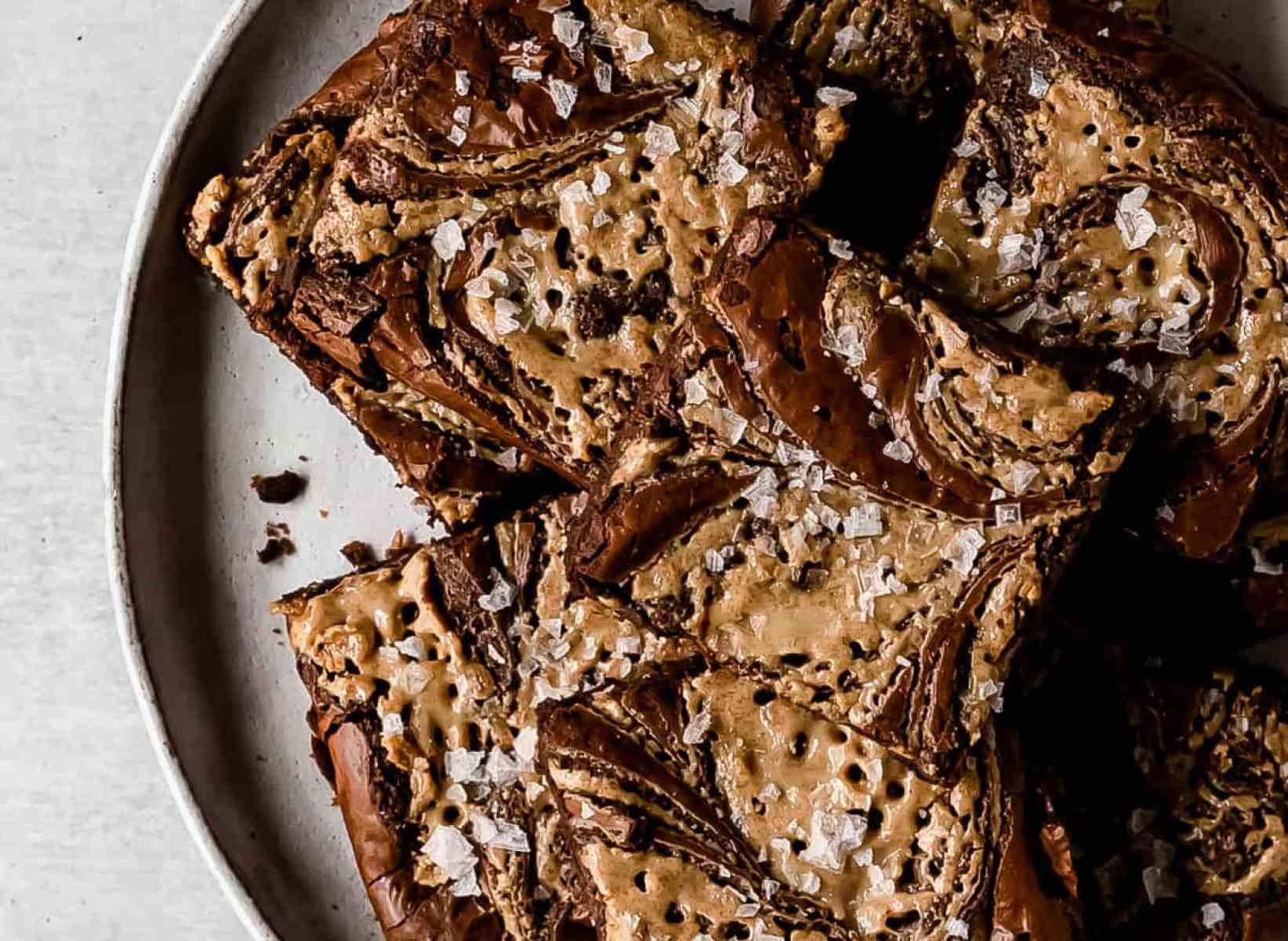 salted tahini swirled olive oil brownies