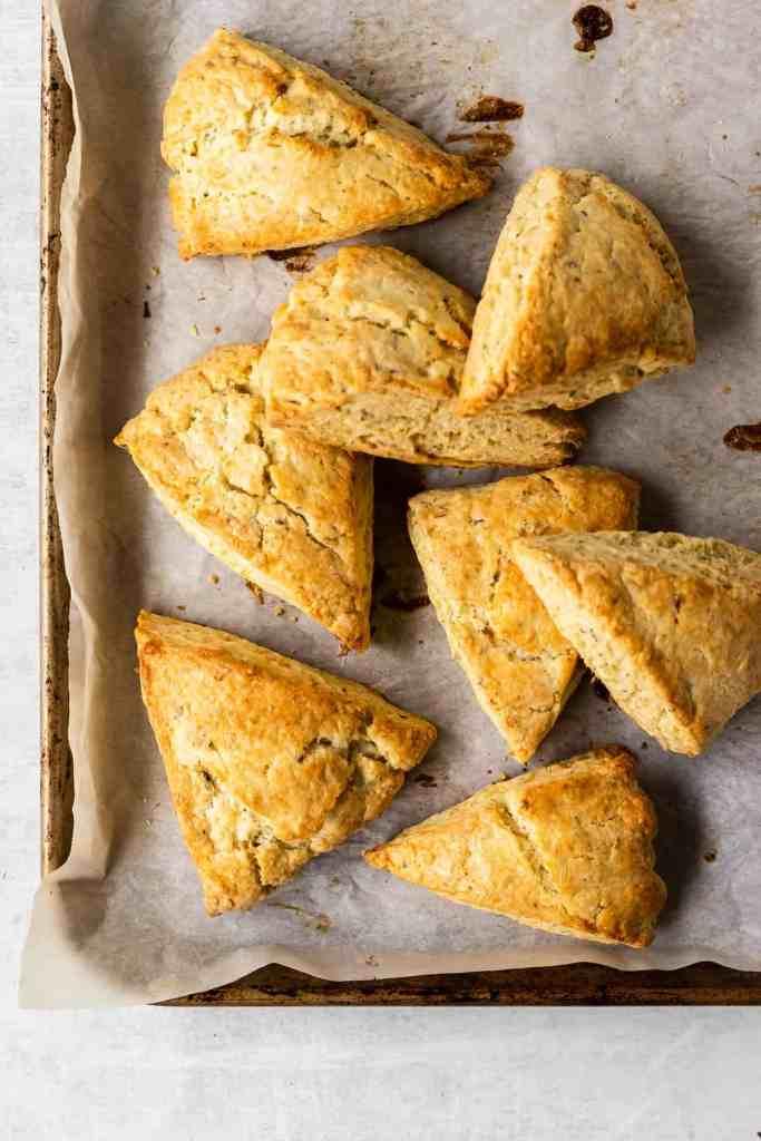 herb de provence scones on a baking sheet