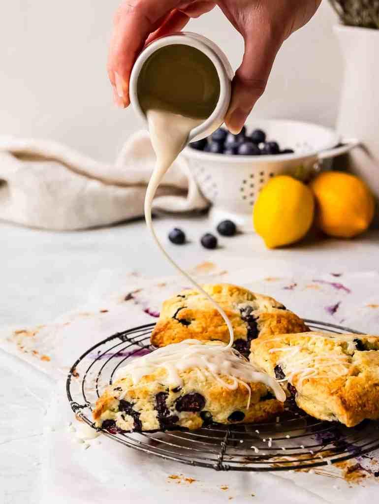 lemon glaze on top of fresh scones