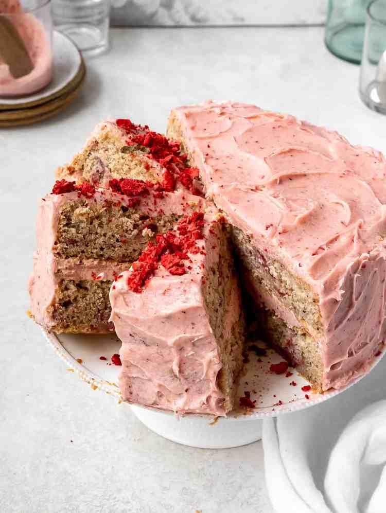 slices of sumac roasted strawberry cake