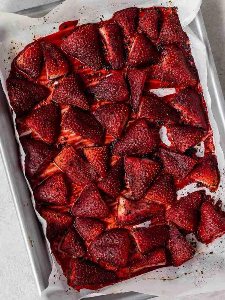sumac roasted strawberries on a baking sheet