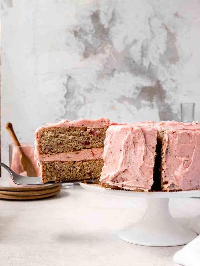 slice of sumac roasted strawberry cake