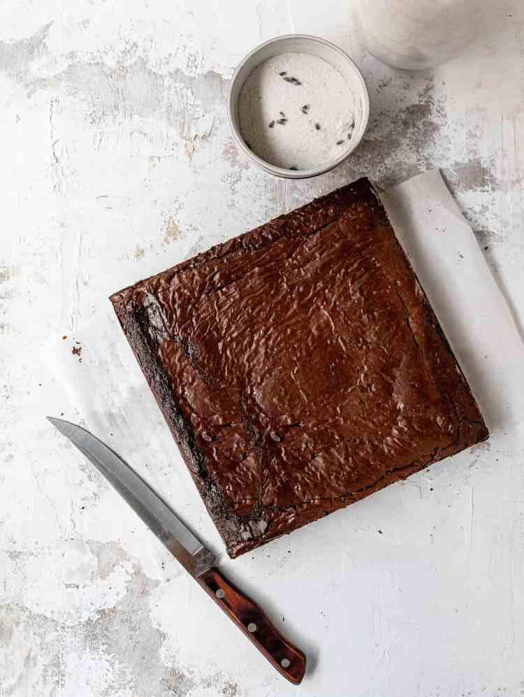 freshly baked, uncut triple chocolate lavender brownies