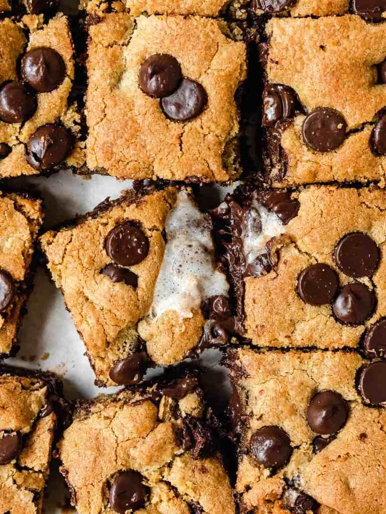 s'mores tahini gluten free cookie bars