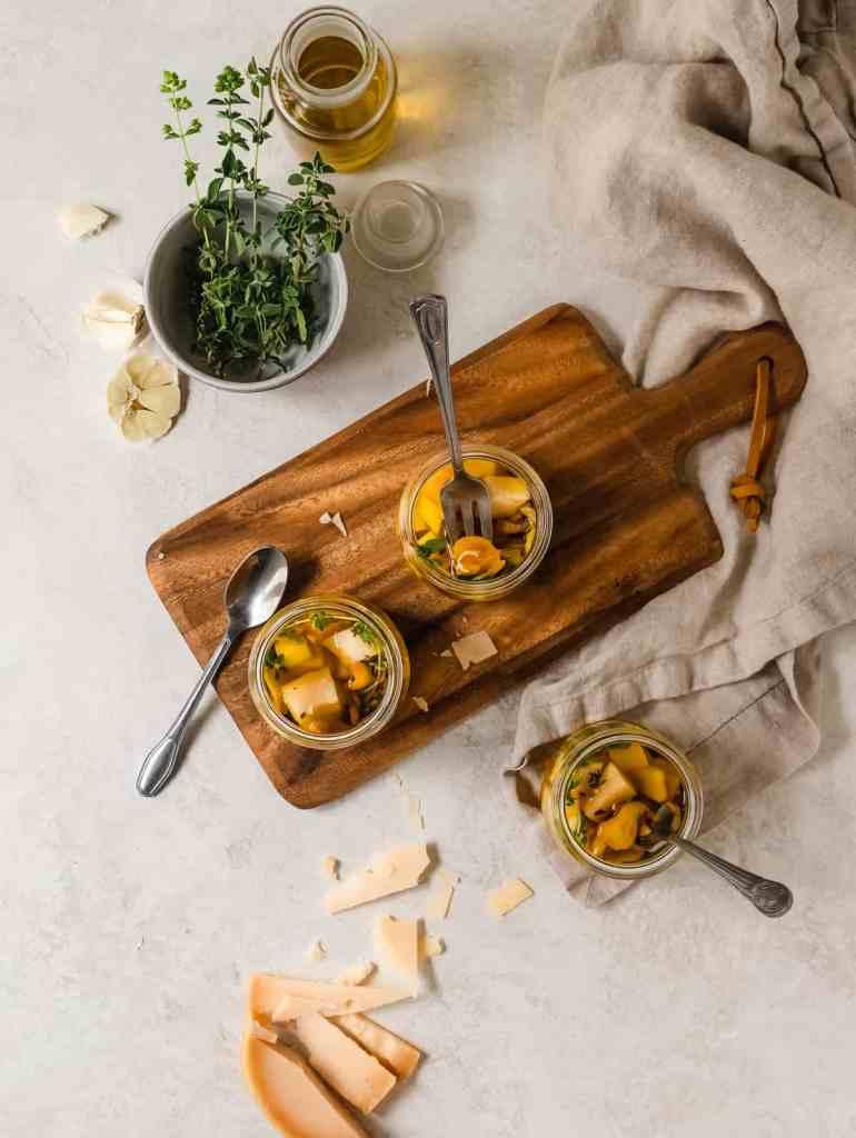 mini marinated gouda jars