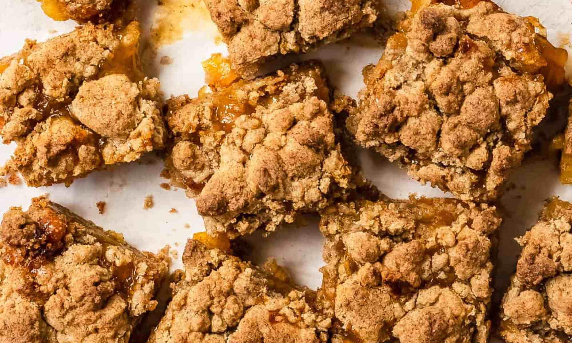 close up shot of peach crumble bars