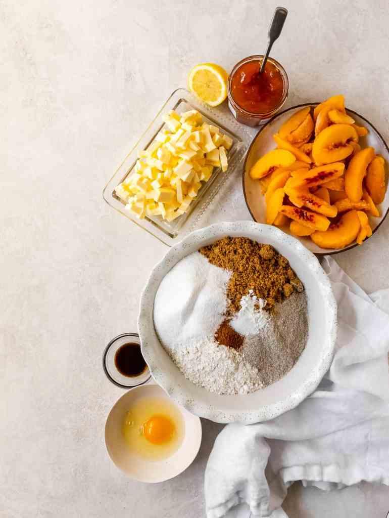 ingredient flatly of peach buckwheat crumble bars