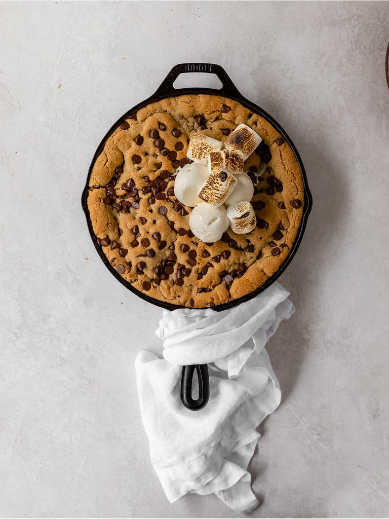 s'mores tahini skillet cookie