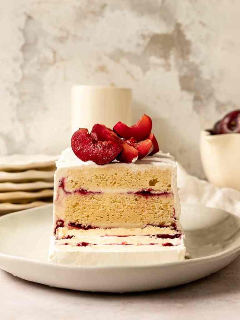 plum ice cream icebox cake