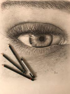 """""""Una mirada"""" Dibujo a lápiz y rotulador sobre papel Canson 50x50cm aproximadamente"""