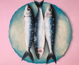 """Un plato de Sardinas II"" Acrílico sobre lienzo 81x100cm"