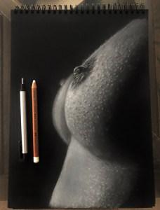 """""""En Propiedad"""" Lápiz Blanco Sobre Papel Negro A4"""