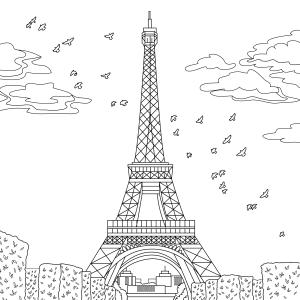 Coloring page, landmark, Paris, illustration by Olivia Linn