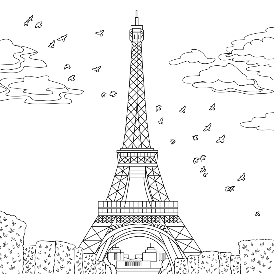 Coloring page, landmark, Paris, illustration by Olivia Linn