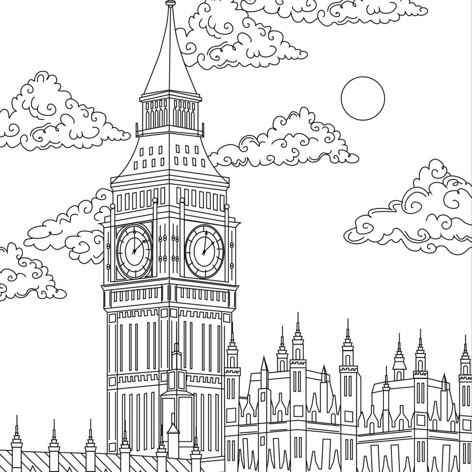 Coloring page, landmark, London, Big Ben, illustration by Olivia Linn