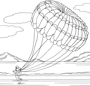 Sky diving, coloring page by Olivia Linn