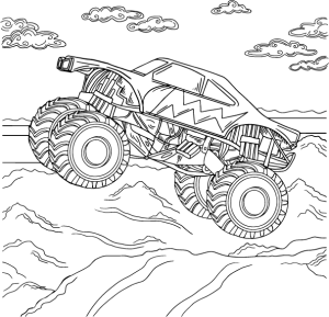 monster car, coloring page by Olivia Linn
