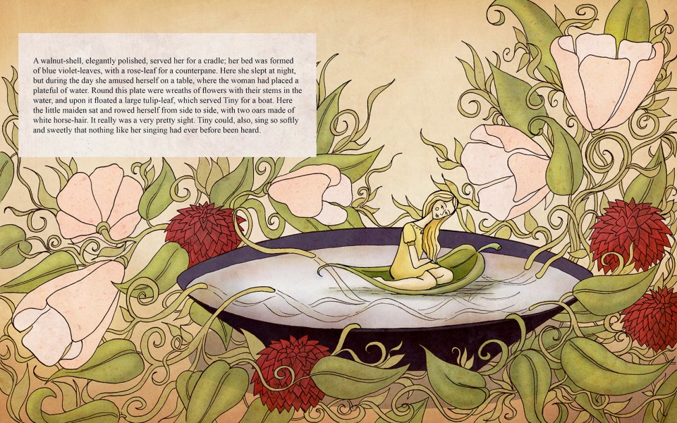 Thumbelina children's book page