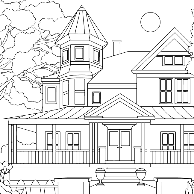 Architecture, coloring page, olivia linn, drawing