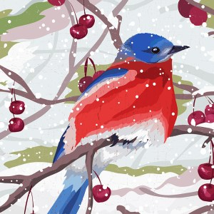 Christmas bird design by Olivia Linn