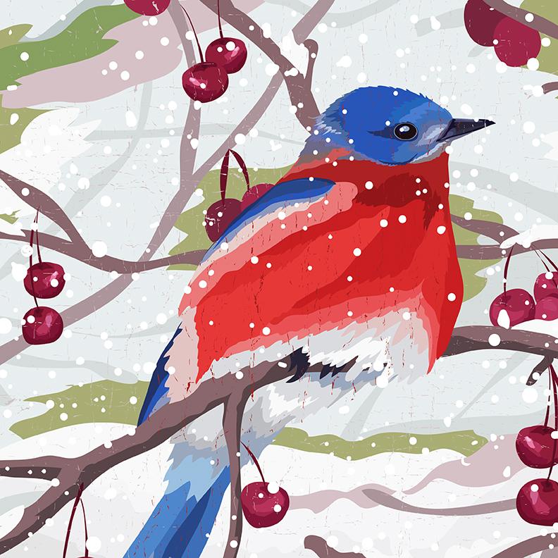 Christmas bird design by Olivia Linn